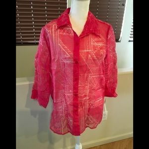NWT Alfred Dunner Coral Button down see thru Shirt